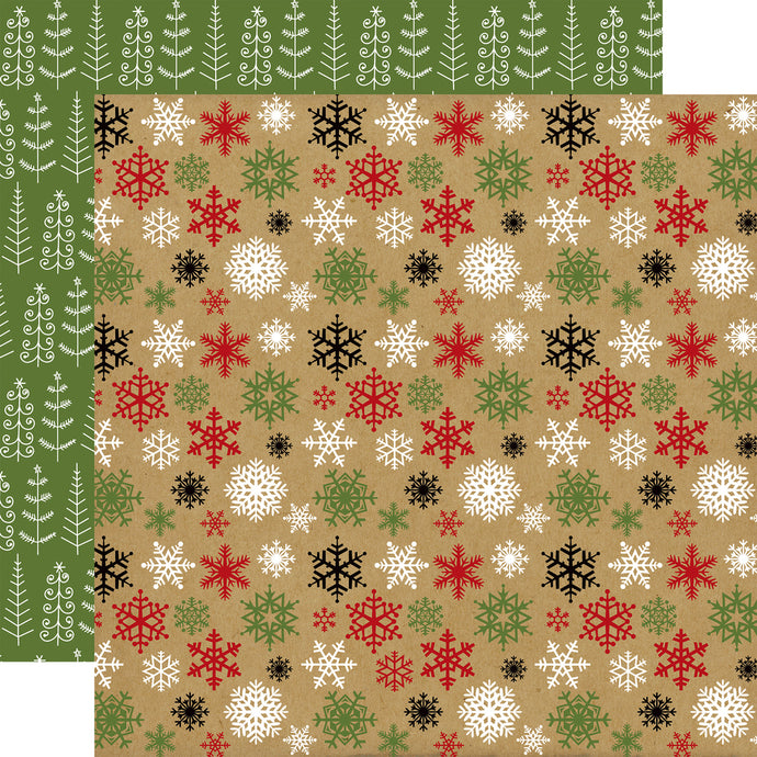 COLD OUTSIDE double-sided 12x12 cardstock with multi-colored snowflakes on one side and Christmas tree doodle on reverse - Echo Park Paper