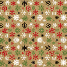 Load image into Gallery viewer, 12x12 cardstock with red, white, green and black snowflakes on Kraft background