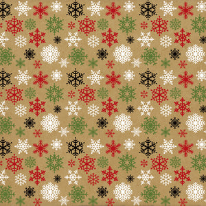 12x12 cardstock with red, white, green and black snowflakes on Kraft background