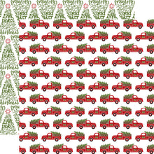Load image into Gallery viewer, FRESH CUT TREES -double-sided, patterned 12x12 cardstock with pickups hauling Christmas trees on one side and word-art trees on the reverse - by Echo Park Paper