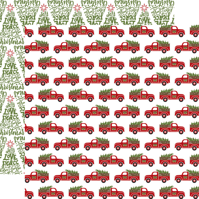 FRESH CUT TREES -double-sided, patterned 12x12 cardstock with pickups hauling Christmas trees on one side and word-art trees on the reverse - by Echo Park Paper