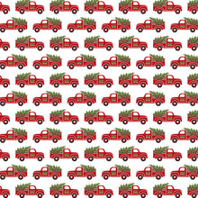 Load image into Gallery viewer, 12x12 cardstock with vintage red pickup trucks hauling Christmas trees on white background