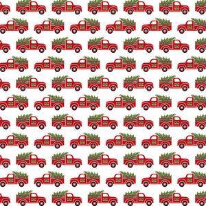 12x12 cardstock with vintage red pickup trucks hauling Christmas trees on white background