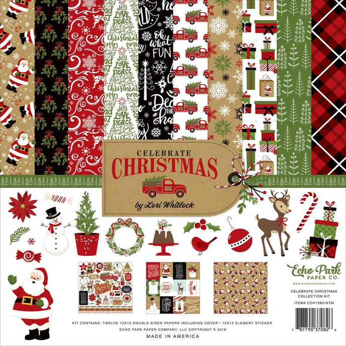 CELEBRATE CHRISTMAS 12x12 cardstock collection kit by Echo Park Paper - Christmas theme