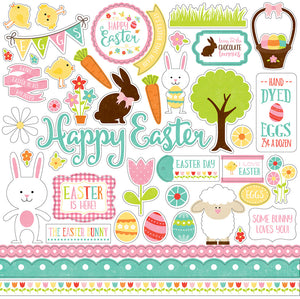 12x12 Element Sticker Sheet for CELEBRATE EASTER collection kit from Echo Park Paper Co.