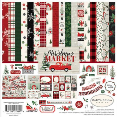 12 double-sided papers with Christmas theme in this Christmas Market Collection Kit by Echo Park Paper Co.