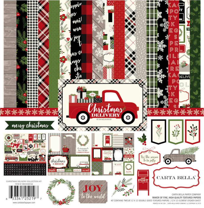 CHRISTMAS DELIVERY Collection Kit from Carta Bella Paper Co. includes coordinated designer 12x12 cardstock designs