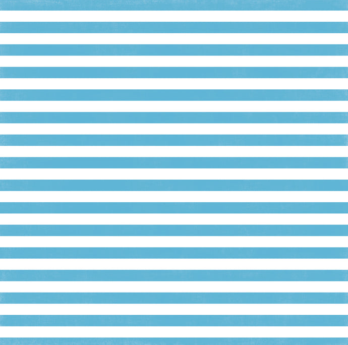 Poolside Stripe 12x12 cardstock from Echo Park Paper - blue and white - front side