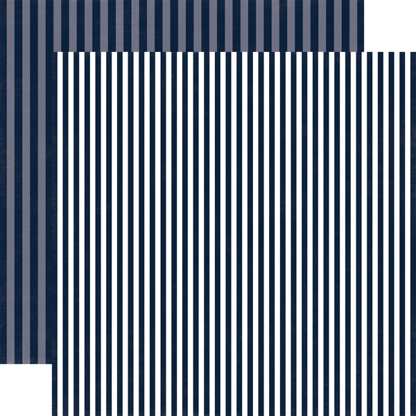 NIGHT SKY STRIPE midnight blue, double-sided geometric pattern cardstock by Echo Park Paper Co.