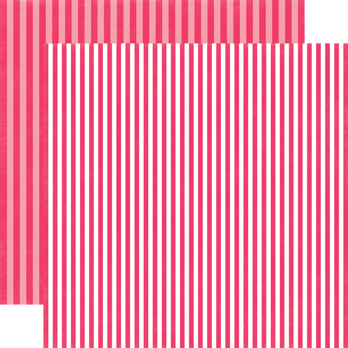PINK PUNCH STRIPE cardstock from Dots & Stripes Collection by Echo Park Paper Co.