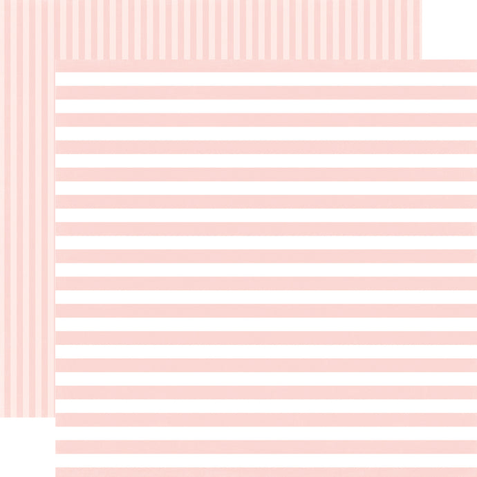 ROSE PETAL STRIPE  pink-pink striped, double-sided cardstock from Dots & Stripes Collection by Echo Park Paper Co.