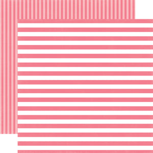 LIPSTICK STRIPE 12x12 Cardstock from Dots & Stripes Collection by Echo Park Paper Co.