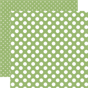 GARDEN GREEN DOT 12x12 pattern paper from Dots & Stripes Collection by Echo Park Paper Co.