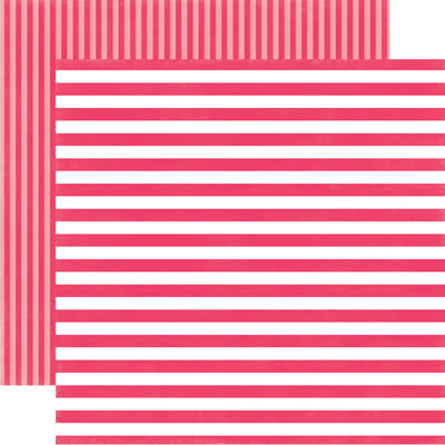 MELON KISS STRIPE 12x12 Cardstock from Dots & Stripes Collection by Echo Park Paper Co.