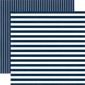 NAUTICAL BLUE STRIPE 12x12 Cardstock from Dots & Stripes Collection by Echo Park Paper Co.