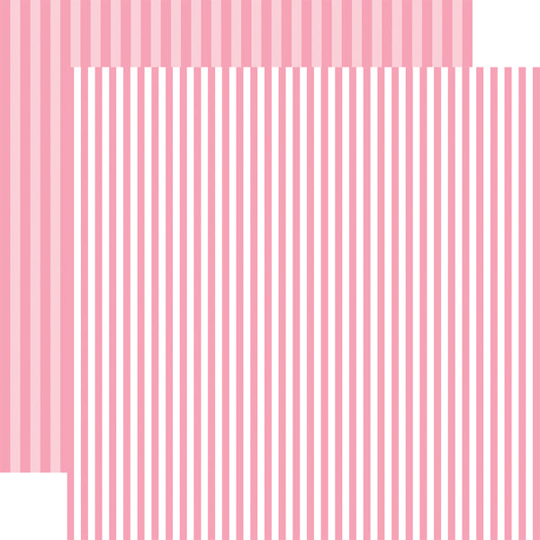RASPBERRY STRIPE 12x12 patterned cardstock from Echo Park Paper Co.
