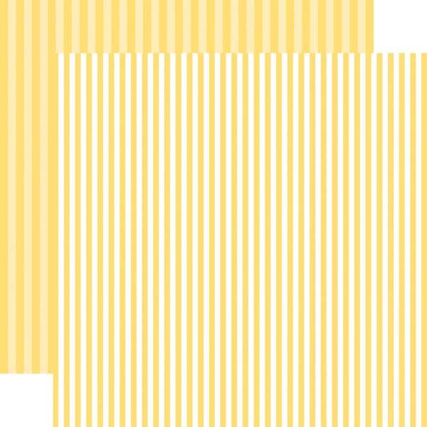 BANANA CREAM STRIPE 12x12 yellow and white stripe pattern cardstock from Echo Park Paper Co.