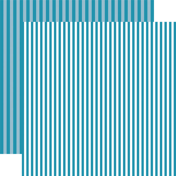 SPLASH STRIPE aqua blue 12x12 patterned cardstock from Echo Park Paper Co.