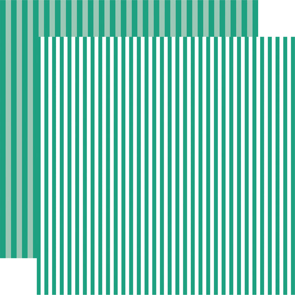SEA TURTLE STRIPE marine green 12x12 patterned cardstock from Echo Park Paper Co.