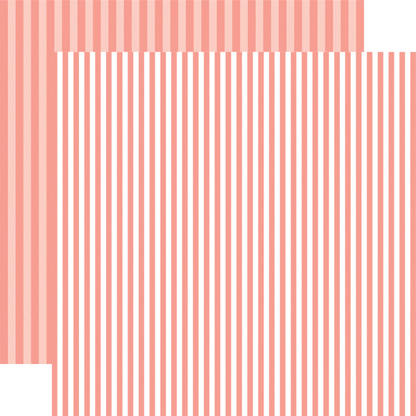 CORAL REEF STRIPE 12x12 peach colored patterned cardstock from Echo Park Paper Co.
