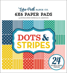 SUMMER DOTS and STRIPES 6x6 Paper Pad with 24 double-sided pages by Echo Park Paper Co.