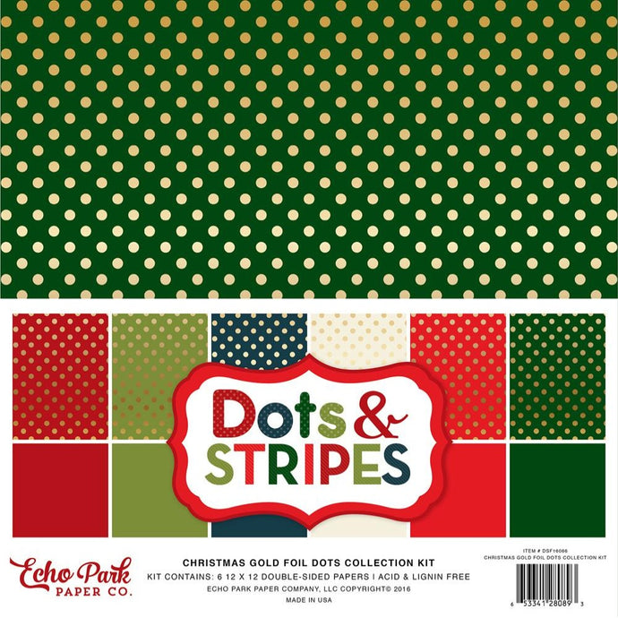CHRISTMAS GOLD FOIL DOTS 12x12 cardstock from Echo Park Paper Co.