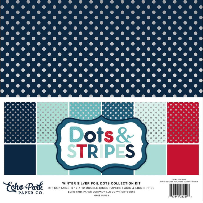 WINTER SILVER FOIL DOTS Collection Kit - Six 12x12 cardstock sheets - Echo Park Paper Co.