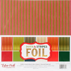 CHRISTMAS GOLD FOILS STRIPES 6 page collection kit from Echo Park Paper Co.