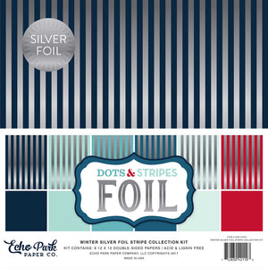 WINTER SILVER FOIL STRIPE Collection Kit - six 12x12 cardstock sheets with silver foil stripes - Echo Park Paper Co.