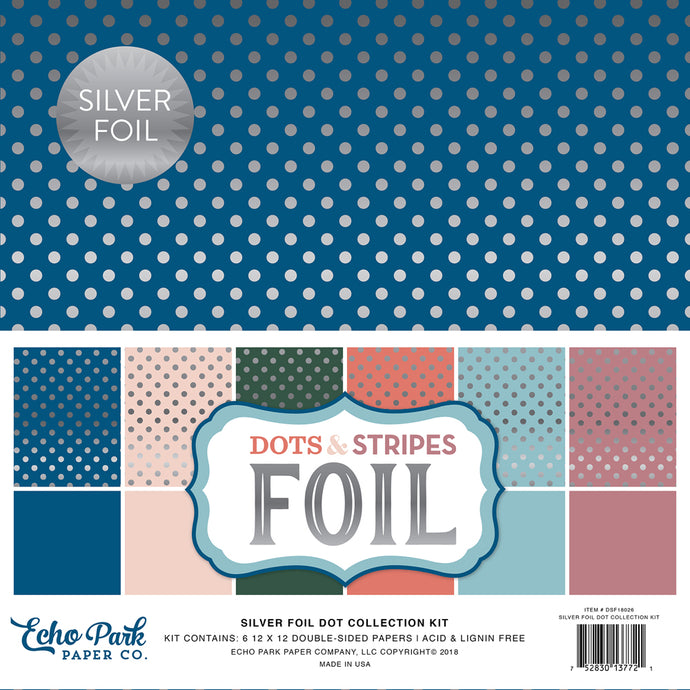SILVER FOIL DOT 12x12 Collection Kit - 12 cardstock sheets in 6 different colors - all with silver foil dots - Echo Park Paper Co.