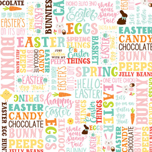 12x12 patterned cardstock full of colorful words and phrases with Easter theme