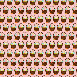 12x12 cardstock with rows of Easter baskets full of colorful eggs on pink background