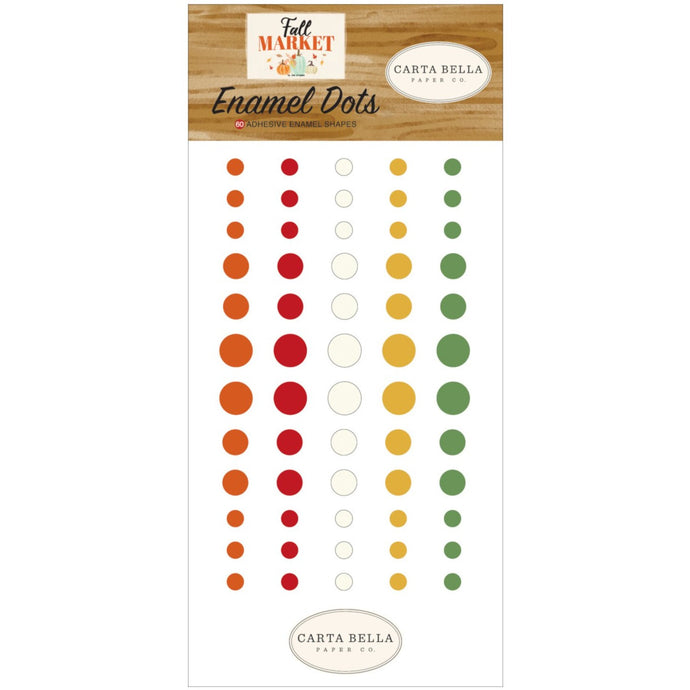 Set of 60 Enamel Dots designed to coordinate with Fall Market Collection by Carta Bella