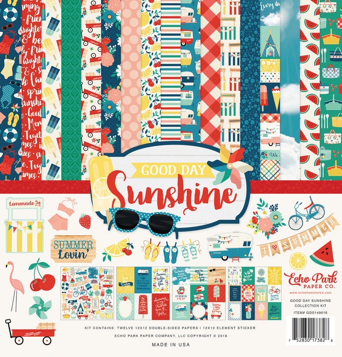 Good Day Sunshine 12x12 collection kit featuring summer fun patterned sheets - Echo Park Paper