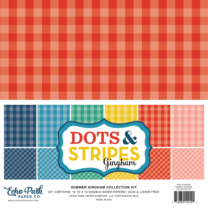 SUMMER GINGHAM Collection Kit - 12 double-sided cardstock sheets with six gingham colors - Echo Park