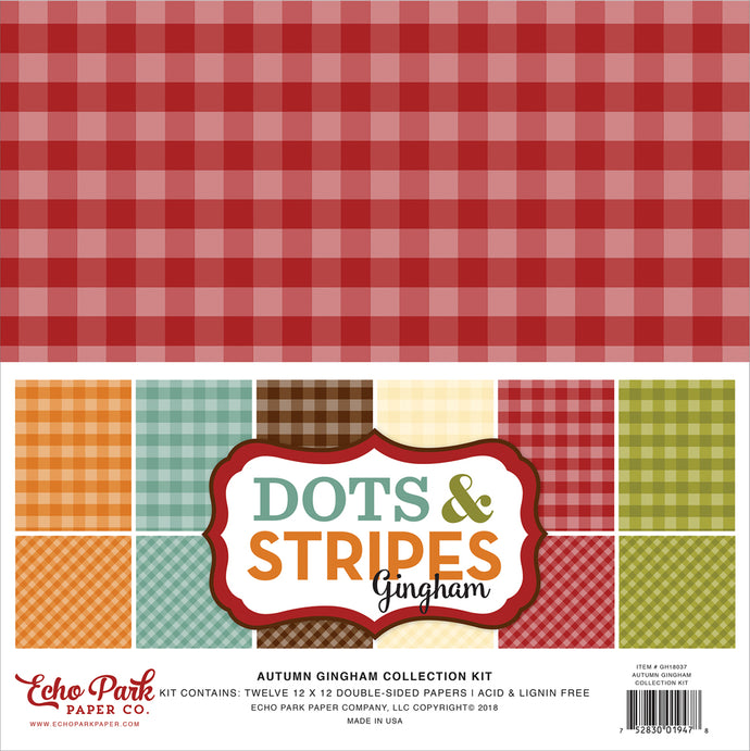 AUTUMN GINGHAM 12x12 Cardstock Collection Kit from Echo Park Paper Co.