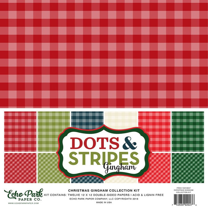 CHRISTMAS GINGHAM Collection Kit - 12 double-sided cardstock sheets in 6 classic Christmas colors - Echo Park Paper Co.