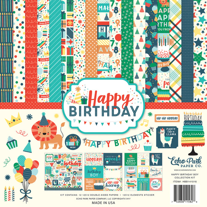 HAPPY BIRTHDAY BOY 12x12 Page Collection from Echo Park Paper Co.