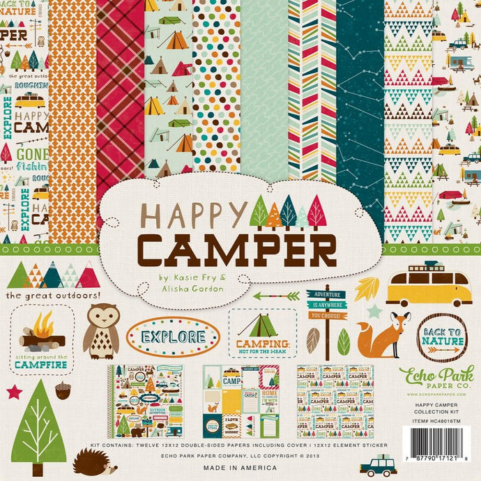 HAPPY CAMPER 12x12 Collection Kit from Echo Park Paper Co. - includes Element Sticker Sheet