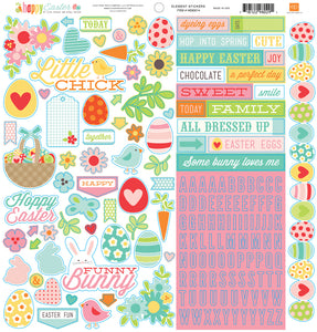 12x12 Element Sticker Sheet from HAPPY EASTER Collection Kit by Echo Park Paper Co.