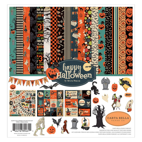 Happy Halloween Page Collection Kit by Carta Bella contains 12 double-sided sheets of cardstock