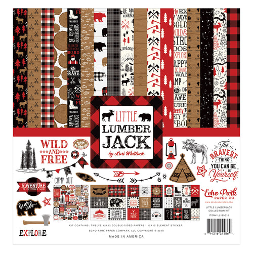 Little Lumberjack Paper Craft Collection Kit with 12 double-sided cardstock sheets in Lumberjack theme