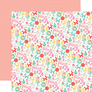 PARTY TIME - double-sided 12x12 cardstock with birthday theme - Echo Park Paper Co.