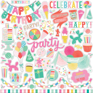 12x12 Elements Sticker Sheet from LET'S PARTY Collection Kit by Echo Park Paper Co.