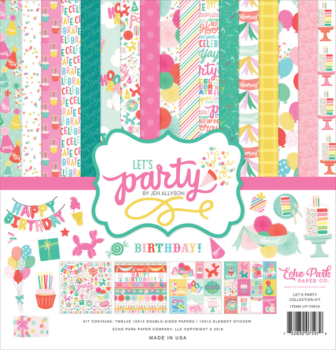 LET'S PARTY 12x12 Cardstock Collection Kit from Echo Park Paper Co.
