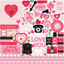 Load image into Gallery viewer, 12x12 Element Sticker Sheet for LOVE STORY Collection Kit by Echo Park Paper Co.