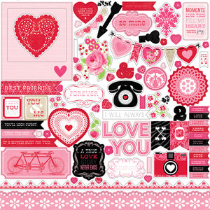 12x12 Element Sticker Sheet for LOVE STORY Collection Kit by Echo Park Paper Co.