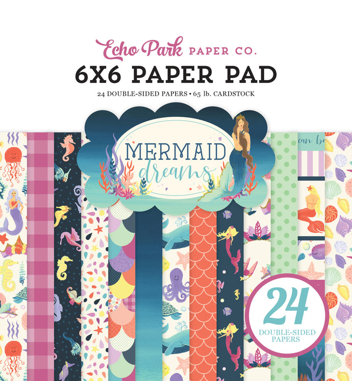 MERMAID DREAMS 6x6 Paper Pad with 24 double-sided pages by Echo Park Paper Co.