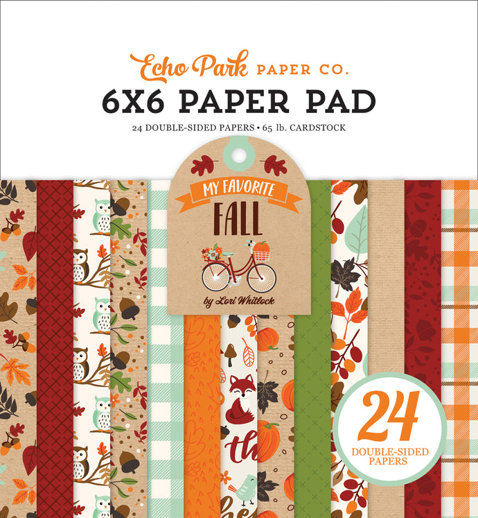 MY FAVORITE FALL 6x6 cardstock pad with 24 double-sided pages from Echo Park Paper Co.
