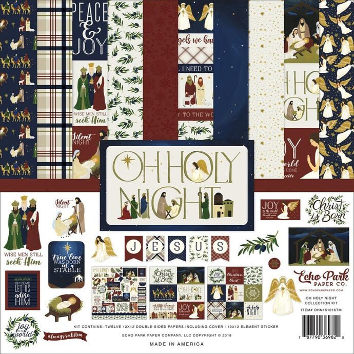 OH HOLY NIGHT 12x12 cardstock collection kit with Christ theme - by Echo Park Paper